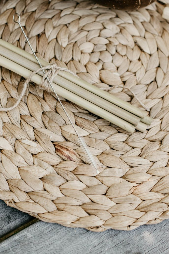 Mayella natural bamboo juice straw set with brush