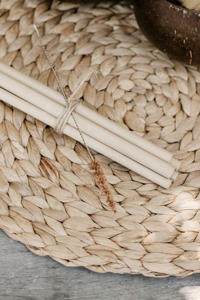 Mayella Bamboo Smoothie Straw with natural coconut fibre brush