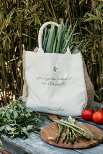Mayella Calico and Jute organic cotton shopping tote bag