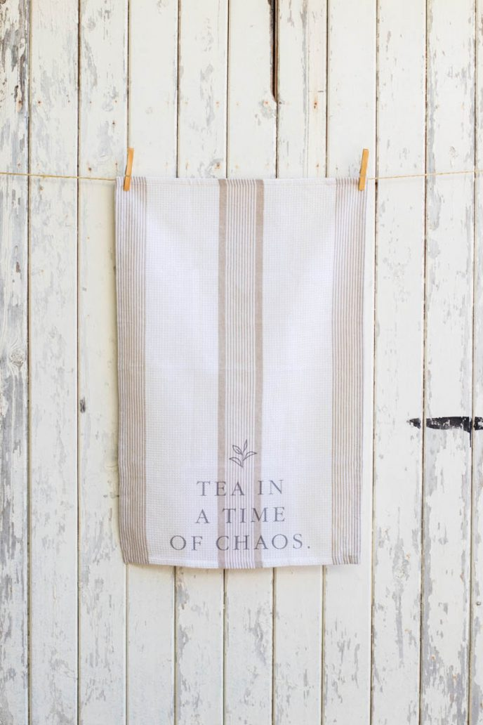 Mayella Living Natural & White cotton tea towel